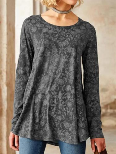 Relaxed Fit Round Neck Long Sleeve Floral Pattern Pullover Tops