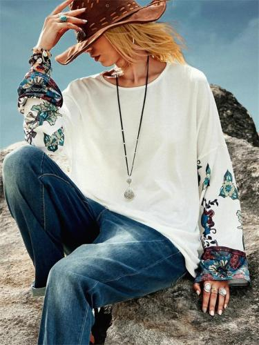 White Casual Floral Printing Patchwork Long Sleeve T-Shirts