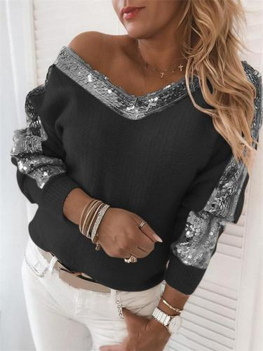 Relaxed Fit V Neck Sequined Long Sleeve Shirt & Tops