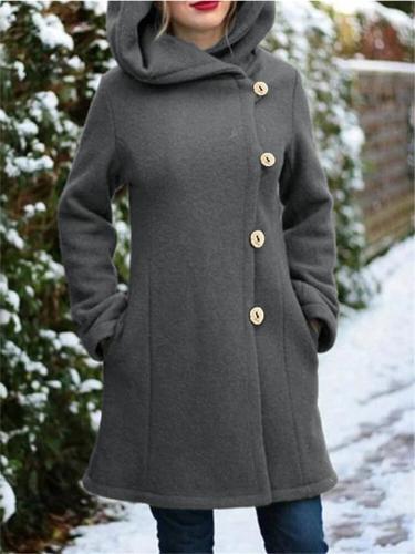 Extra Warm Button Up Side Pocket Solid Color Hooded Woolen Coat