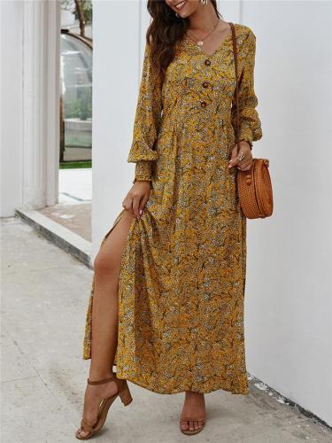 Women Trendy Elegant Floral VNeck LongSleeve Maxi A-Line Dress