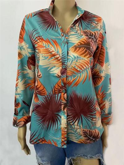 Stylish Lapel Collar Floral Printed Button Up Long Sleeve Blouse