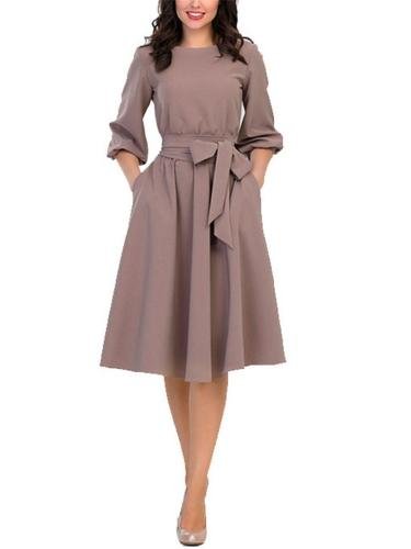Stylish Round Neck Solid Color Waist Tie 3/4 Sleeve Pleated Midi Dress