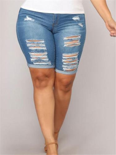 Fashion Washed Effect Ripped Rolled Hem Denim Shorts