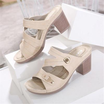 Stylish Open-Toe Chunky High Heel Soft Footbed Sandals Slippers