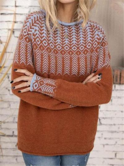 Soft Fine-Knit Dropped Shoulder Ribbed Hem Geometric Pattern Sweater