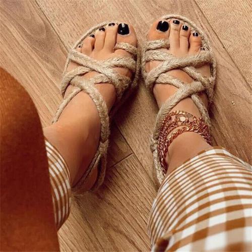 Lightweight Braided Cross Strap Toe-Ring Flat Heel Sandals