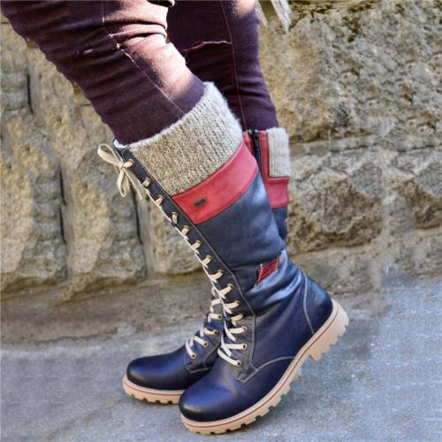 Extra Cozy Low Heel Lace Up Side Zipper Mid-Calf Fur Lining Boots