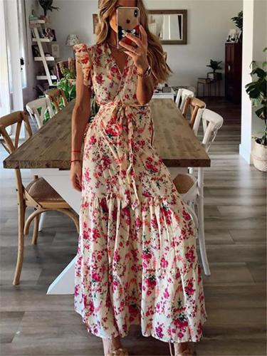 Women's Sexy Floral Print Lace-up Dress