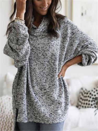 Relaxed Fit Turtleneck Pullover Midi Length Sweaters