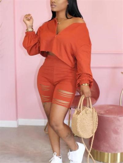 Fashionable 2 Piece V Neck Long Sleeve Tops + High-Rise Ripped Shorts