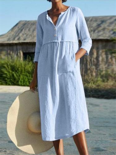 Casual Style Button Up Long Sleeve Solid Color Linen Cotton Midi Dress