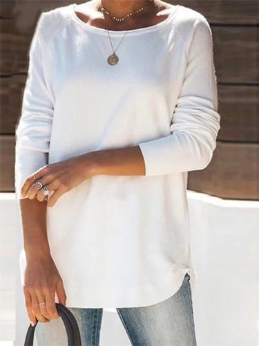 Relaxed Fit Solid Color Crew Neck Long Sleeve Basic Tops