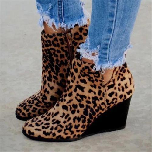 Retro Style Leopard Side Zipper Cutout Wedge Mid Heel Short Boots