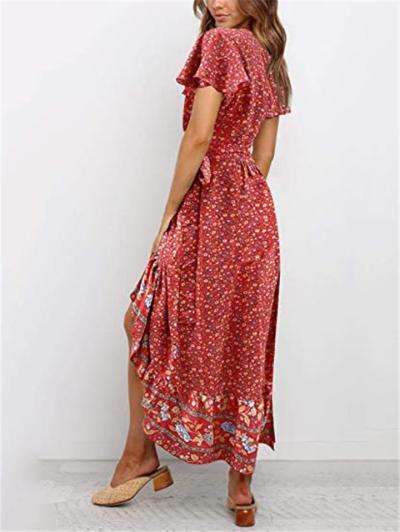 Fashionable Wrap V Neck Floral Short Sleeve Asymmetric Hem Dress