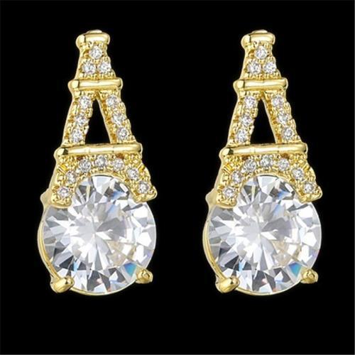 Sparkling Beaded Geometric Shape Silver Stud Earrings