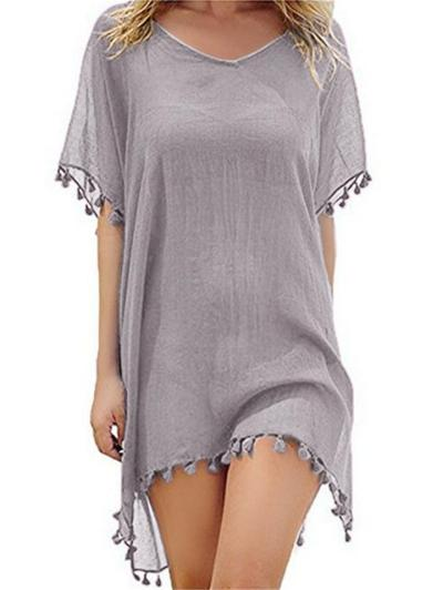 Trendy V Neck Semi Sheer Short Sleeve Fringed Mini Chiffon Dress