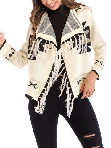 Stylish Exotic Geometric Pattern Tassel Knitting Cardigan