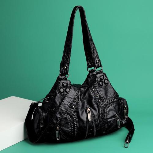 Vintage Style Multi-Pocket Pleated Zip Up Leather Shoulder Bag