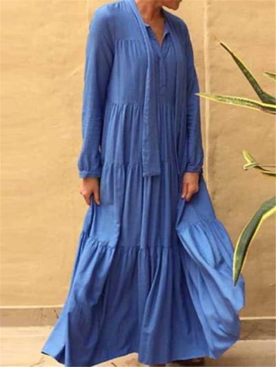 Loose Fit Self-Tie V Neck Long Sleeve Pleated Maxi Linen Dress