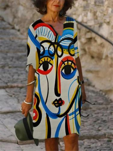 Casual Fit Abstract Painting Long Sleeve Midi Length Dress