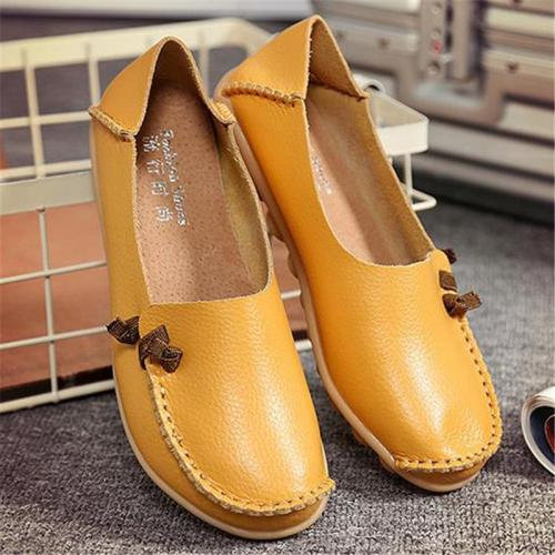 Flat Heel Cowhide Slip-On Loafers For Women