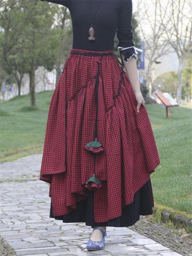 Vintage Style Cotton Linen Asymmetric Plaid Flare Pleated Skirt