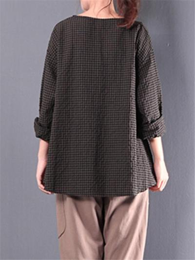 Loose Fit Notched V Neck Long Sleeve Plaid Pullover Cotton-Blend Tops