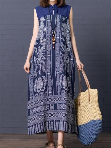 Retro Style Stand Collar Sleeveless Side Slit Linen Cotton Dress