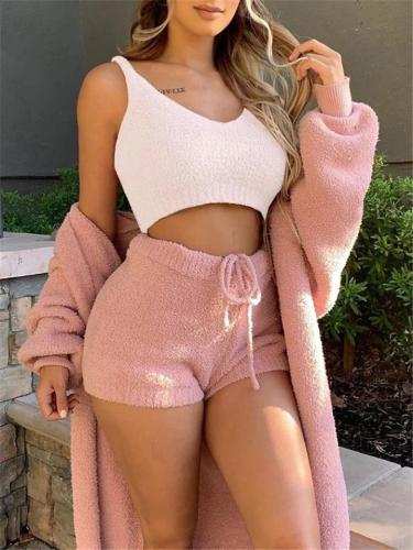 Winter Pajamas Set Cropped Vest + Night-Robe + Drawstring Shorts