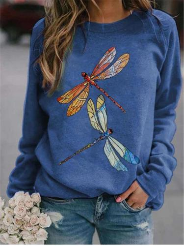 Casual Fit Dragonfly Printed Crew Neck Long Sleeve Shirt