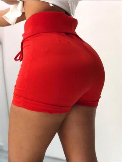 Casual Style High-Rise Waist Tie Mini Hot Pants Shorts
