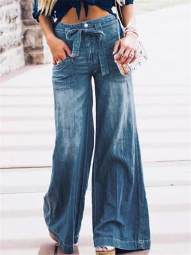 Relaxed Fit Washed Effect Front Pocket Wide Leg Denim Trousers