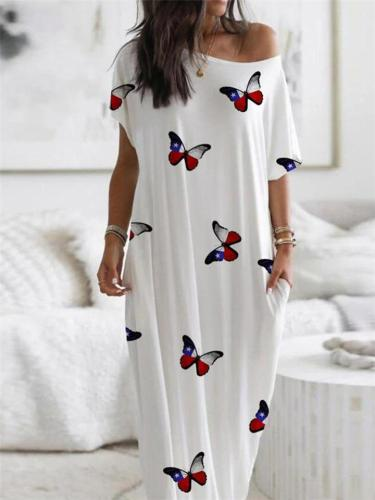 Loose Fit Round Neck Butterfly Printed Short Sleeve Pocket Nightgown Dress