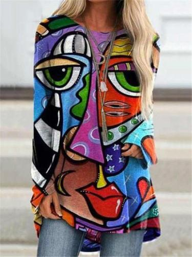 Relaxed Fit Abstract Painting Round Neck Long Sleeve Pullover Tops