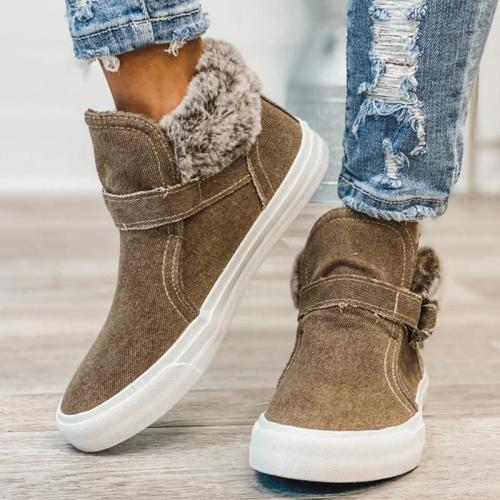 Ultra Cozy Fur Lining Slip-On Thick-Sole Flat Canvas Short Boots
