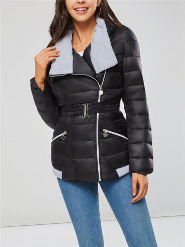 Comfortable Warm Zipper Up Waist Belt Puff Goose Down HoodedCoat
