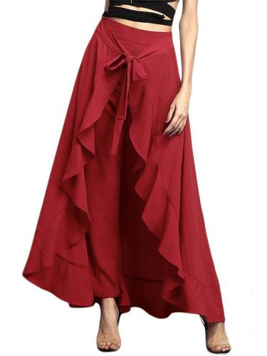 Fashionable Irregular Flounce High-waist Lace-up Trousers