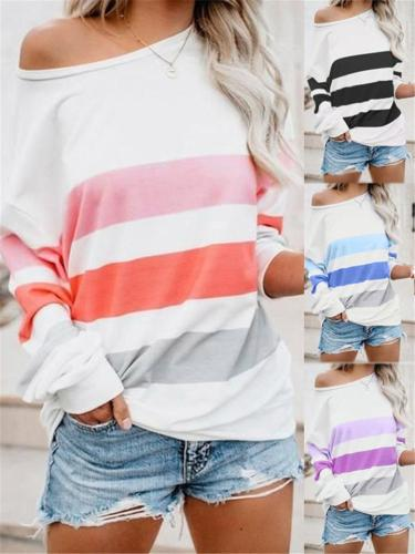 Loose Striped Round Neck Long Sleeve Shirt
