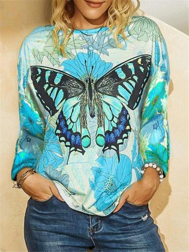 Casual Pretty Butterfly Print Round Neck Long Sleeve Shirts