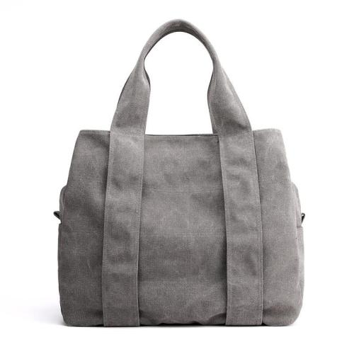 Casual Style Large Capacity Multi-Pocket Canvas Shoulder Bag