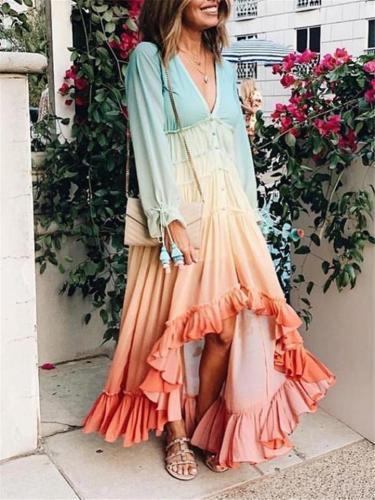 Low V Neck Long Sleeve Gradient Ruffled Hem High-Low Dress