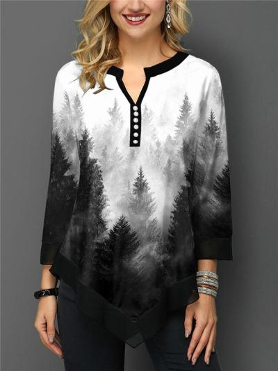 Relaxed Fit Notched V Neck Landscape Printed Asymmetric Pullover Tops