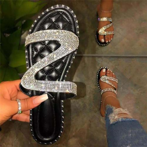 Pretty Shining Crystal Flip-Flops Beach Slippers For Women