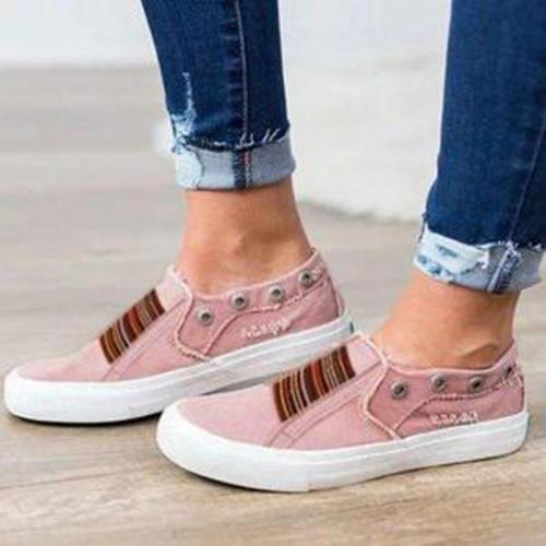 Elastic Washed Denim Casual Shoes