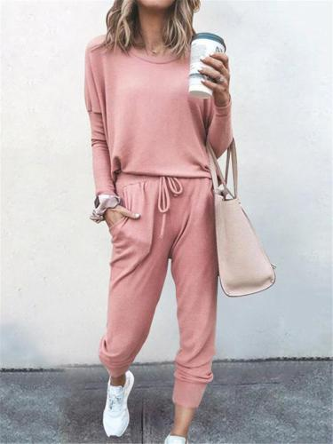 Women Daily Casual Solid Color Outfits Long Sleeve T-shirt + Trousers