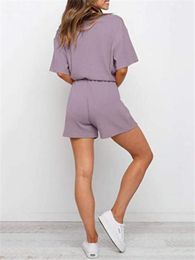 Relaxed Fit V Neck Sold Color 2 Piece Short Sleeve Tops + Drawstring Shorts