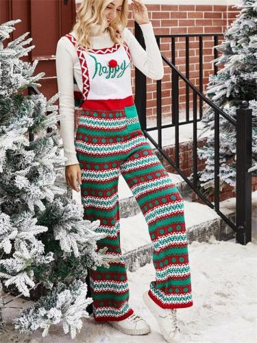 Cute Christmas Snowflake Print Knitting Overalls Jumpsuit
