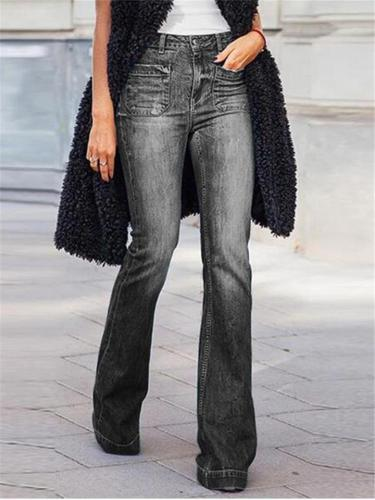 Casual Fit Solid Color Mid Rise Washed Effect Full Length Denim Pants