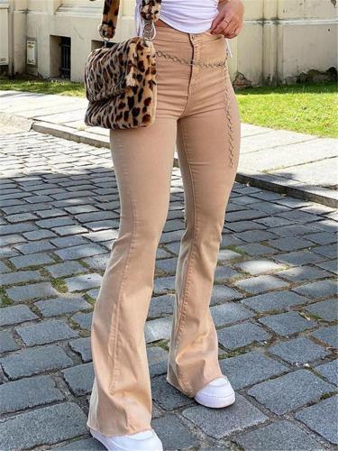 Casual Style High Rise Slight Stretchy Pocket Frayed Hem Flare Jeans